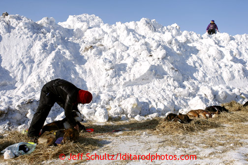 5-year old Harmony Jackson watches Michelle Phillips  from a snow berm used to block the wind as Michelle boots her dogs the Shaktoolik checkpoint on Monday March 11, 2013. Iditarod Sled Dog Race 2013 Photo by Jeff Schultz copyright 2013 DO NOT REPRODUCE WITHOUT PERMISSION