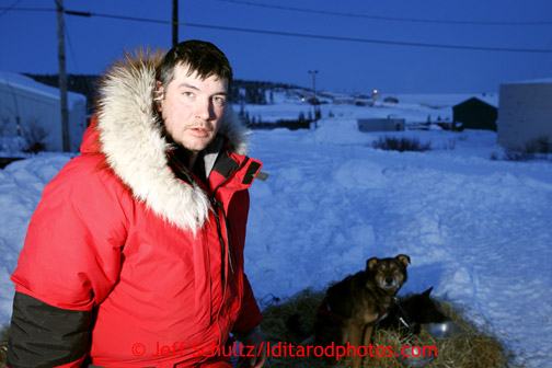 Ray Redington, Jr., photographed at the Elim checkpoint on Monday March 11, 2013. Iditarod Sled Dog Race 2013 Photo by Jeff Schultz copyright 2013 DO NOT REPRODUCE WITHOUT PERMISSION
