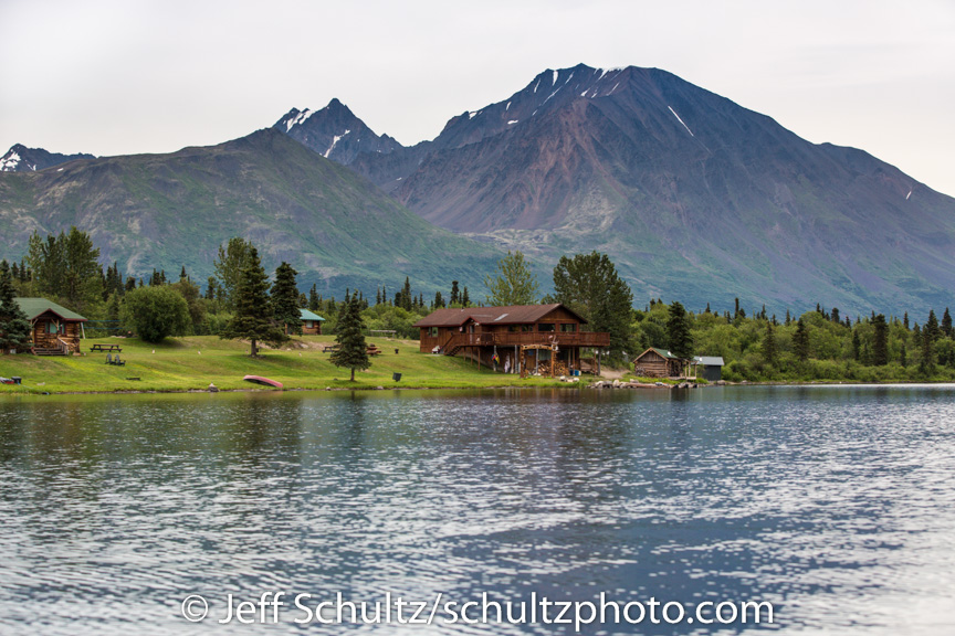 Summer time view of Rainy Pass Lodge and Puntilla Lake