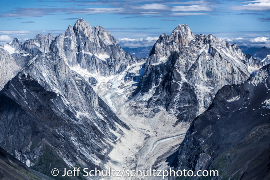 Aerial view of the Alaska Range and Cathedral spires area in Denali National Park.  Alaska summer