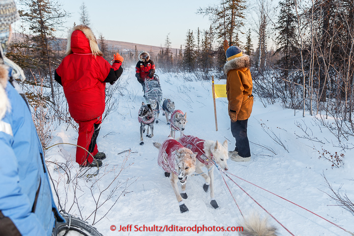Paul Gebhart checks in at the checkpoint in Manley on Tuesday March 10, 2015.  This is the second checkpoint of the 2015 Iditarod. (C) Jeff Schultz/SchultzPhoto.com - ALL RIGHTS RESERVED  DUPLICATION  PROHIBITED  WITHOUT  PERMISSION