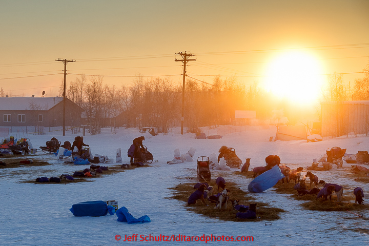 Mushers are getting ready to leave from the Huslia checkpoint on the morning of Sunday  March 15, 2015 during Iditarod 2015.   (C) Jeff Schultz/SchultzPhoto.com - ALL RIGHTS RESERVED  DUPLICATION  PROHIBITED  WITHOUT  PERMISSION