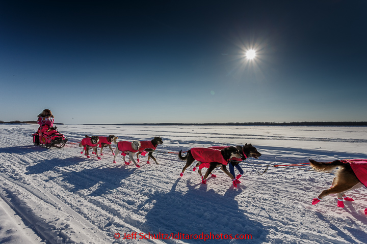 DeeDee Jonrowe on the Yukon River after leaving  the Koyukuk checkpoint on the afternoon of Sunday  March 15, 2015 during Iditarod 2015.   (C) Jeff Schultz/SchultzPhoto.com - ALL RIGHTS RESERVED  DUPLICATION  PROHIBITED  WITHOUT  PERMISSION
