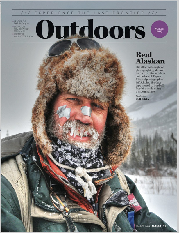 This photo by Bob Jones is from the article he wrote for Alaska Magazine about our snowmachine trip over Rainy Pass.  This was taken on the second day after travelling from the Pass by sno-go and spending most of the day in the Dalzell Gorge photographing various teams.  My traveling companions thought they saw white patches on my face (frostbite) and put duct tape on them to prevent further frostbite in case that's what it was.