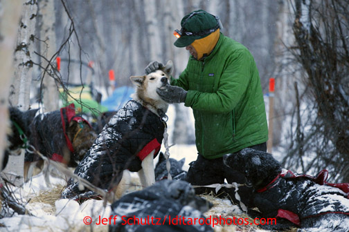 Brazilian musher Luan Ramos Marques pets one of his dogs as he rests at the halfway checkpoint of Iditarod on Saturday March 9, 2013. Iditarod Sled Dog Race 2013 Photo by Jeff Schultz copyright 2013 DO NOT REPRODUCE WITHOUT PERMISSION