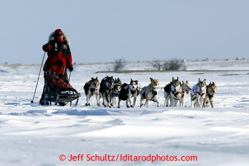 Aily Zirkle on the trail near Cape Nome on Tuesday March 12, 2013. Iditarod Sled Dog Race 2013 Photo by Jeff Schultz copyright 2013 DO NOT REPRODUCE WITHOUT PERMISSION