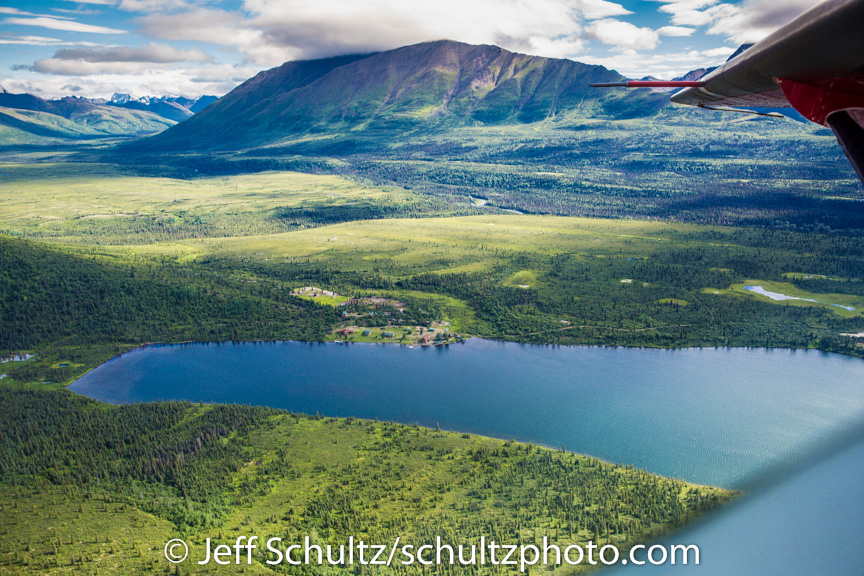 Aeiral view of Puntilla Lake and The Perrins Rainy Pass Lodge summer