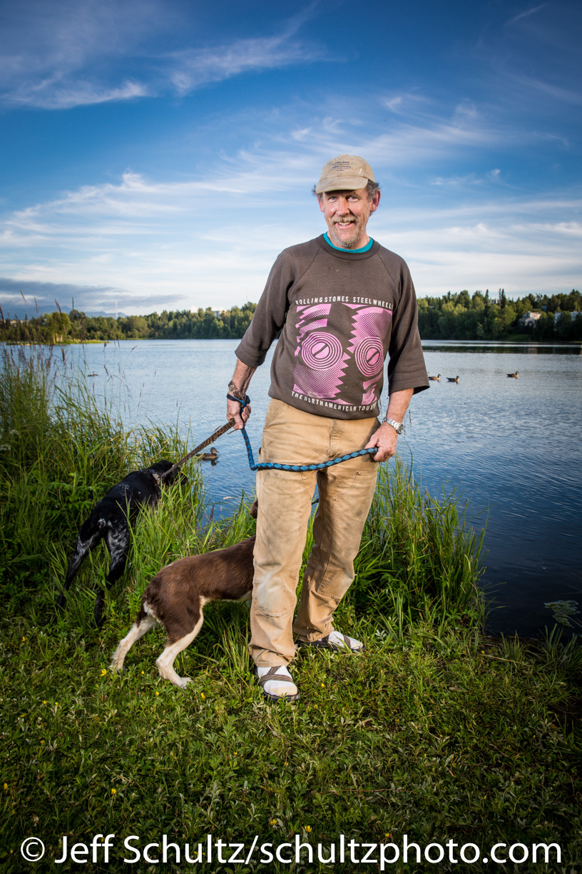 Tom walks a couple of his friend's dogs.  A summer evening in July at Westchester Lagoon 2013