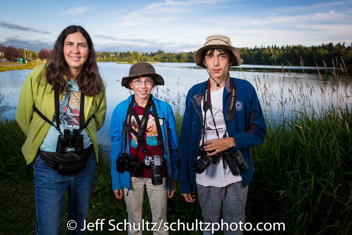 A family from Carson City, Nevada spend their first night in Anchorage bird watching    A summer evening in July at Westchester Lagoon 2013