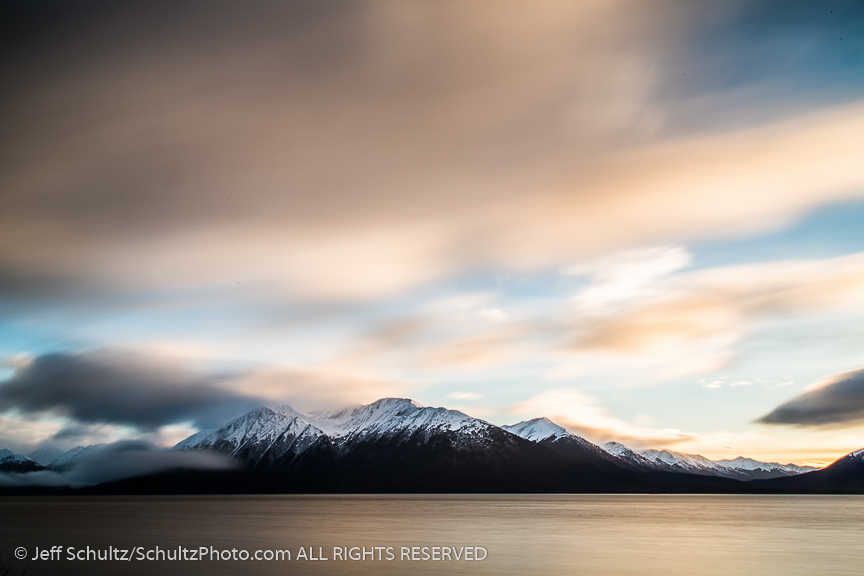 winter landscape of Turnagain Arm with Kenai Mountains.  Alaska 2014 stock