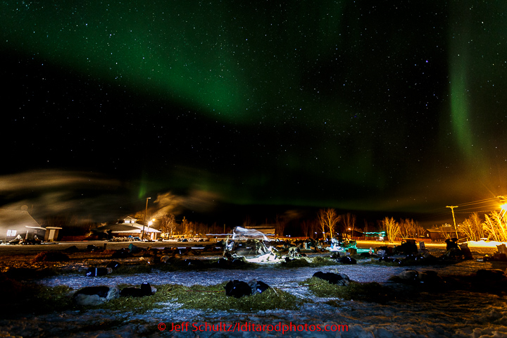 Northern Lights dance overhead of resting teams at the Huslia checkpoint early on Sunday  March 15, 2015 during Iditarod 2015.   (C) Jeff Schultz/SchultzPhoto.com - ALL RIGHTS RESERVED  DUPLICATION  PROHIBITED  WITHOUT  PERMISSION