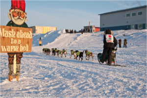Hans Gatt mushes past a welcome sign as he is about to transition from the Bering Sea to Front Street in Nome during Iditarod 2009.