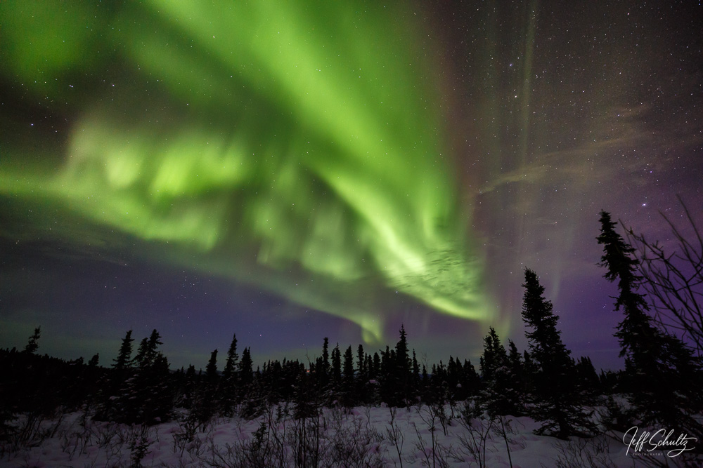 Winter landscape of Northern Lights (Aurora Borealis) as they dance over the tundra of interior Alaska just north of Fairbanks at Cleary Summit.