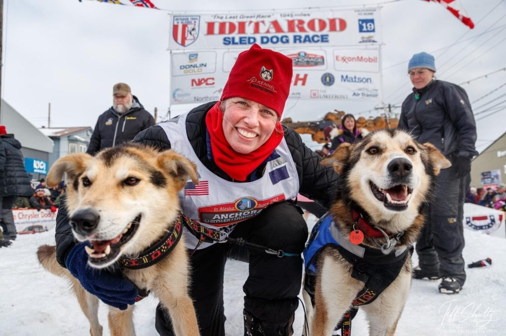 This Image of Aliy and her leaders was made at the Nome finish during the 2019 Iditarod with a Canon 1DX-Mark II and a Canon 24-105mm lens at 24mm 1/500th second at f/7.1 ISO 400